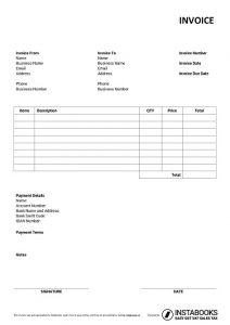 Basic Google Sheets invoice template with terms 2/10 net 30, automatic invoice numbering, logo, bank details, discount, tax calculation formula, signature